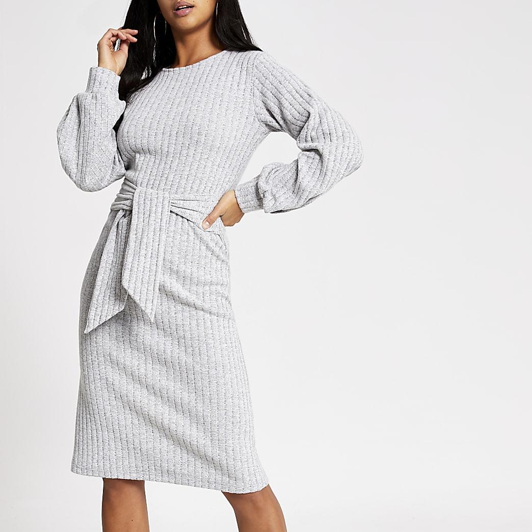 Petite grey tie front midi dress