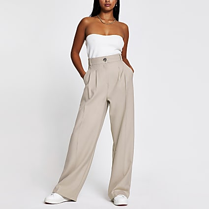 Petite Grey wide leg pleat front trousers