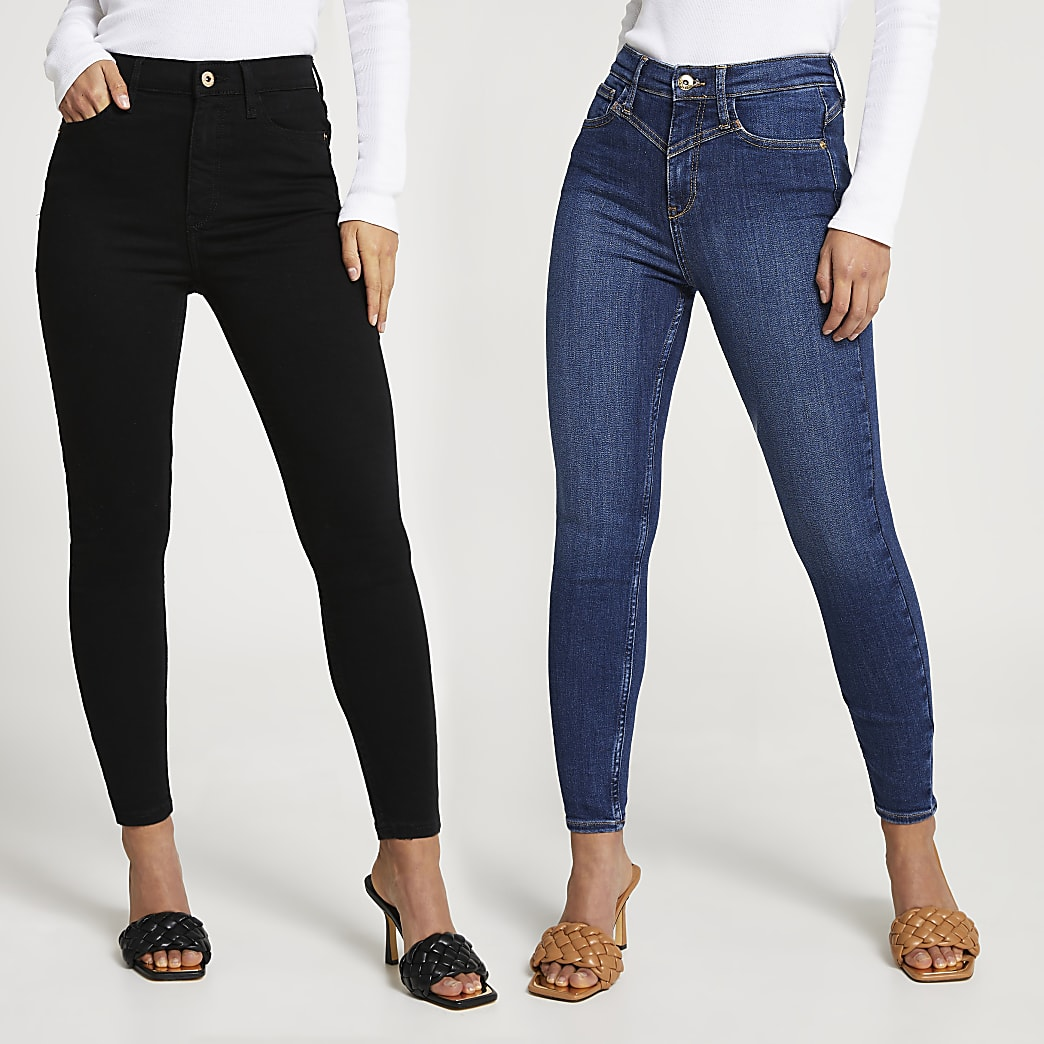 Petite High Waisted Skinny Jeans Multipack