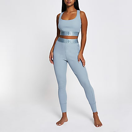 Petite Intimates blue RI racer crop top