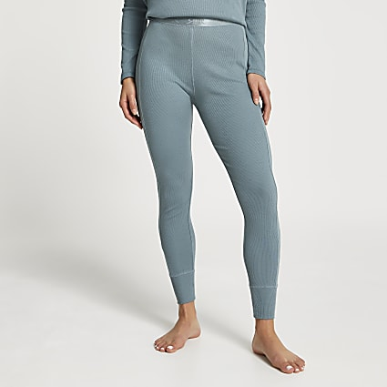 Petite Intimates green ribbed leggings