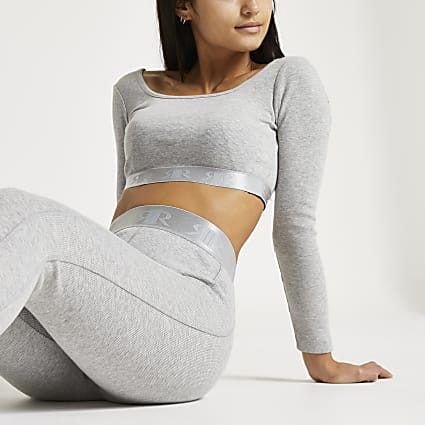 Petite Intimates grey RI ribbed crop top