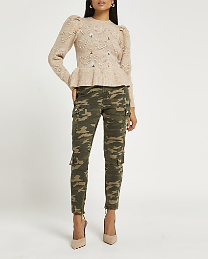 Petite khaki camo bum sculpt cargo trousers