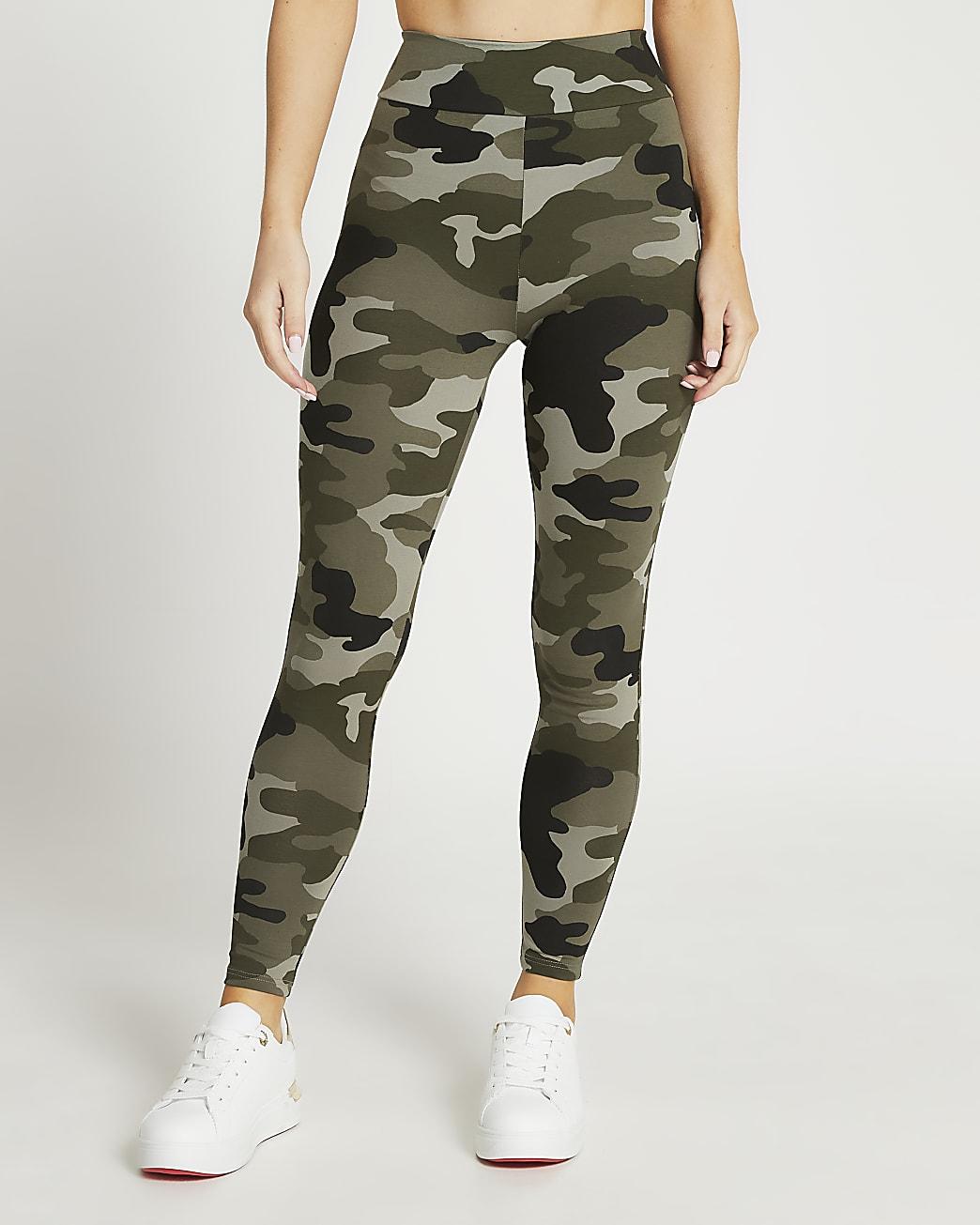 Petite khaki high waisted camo leggings