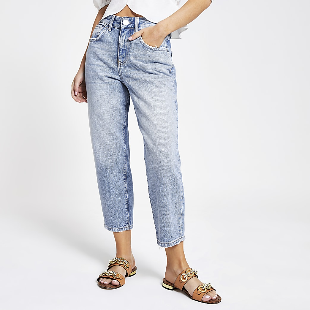Petite – Jean court large bleu clair