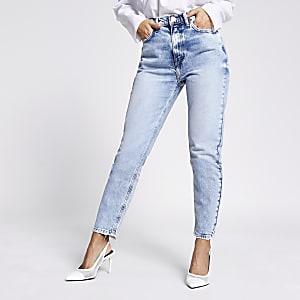 Petite – Brooke – Hoch geschnittene Slim Fit Jeans in Hellblau