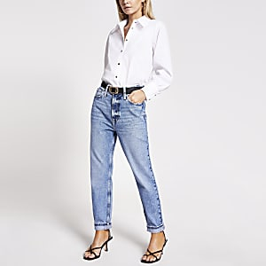 Petite light blue Carrie high rise Mom jeans