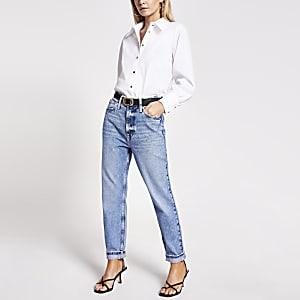 Petite – Carrie – Jean Mom taille haute bleu clair