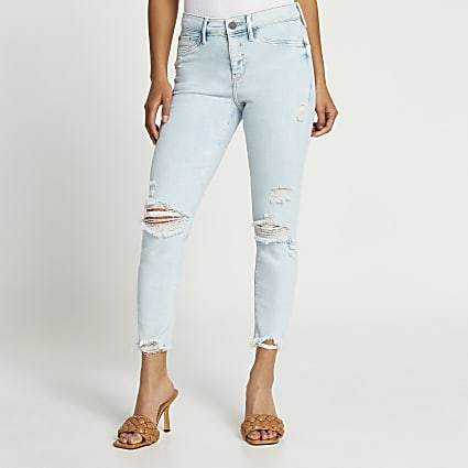 Petite light blue Molly mid rise ripped jeans