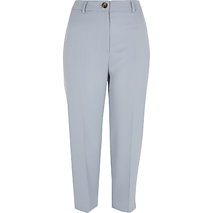 Petite light blue peg trousers