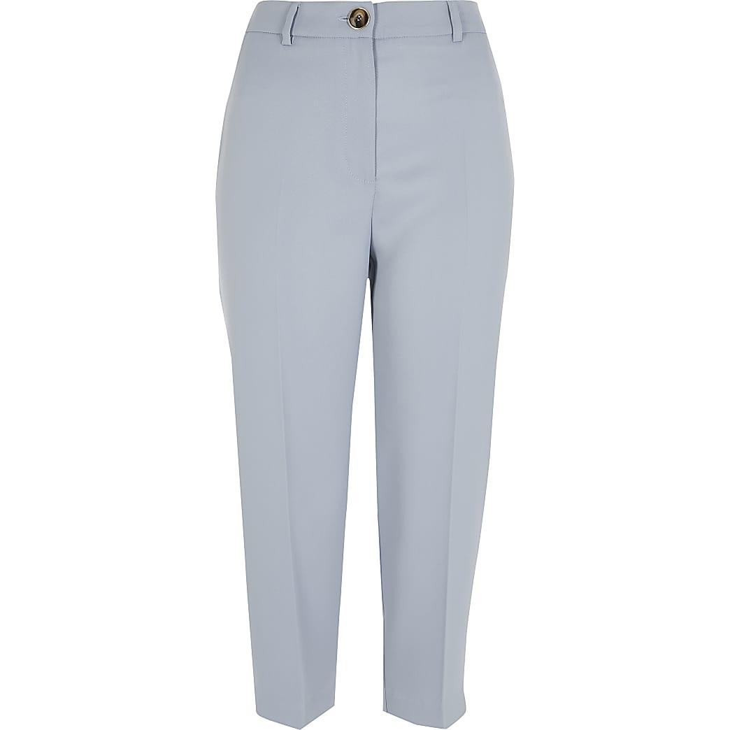 Petite light blue peg trousers