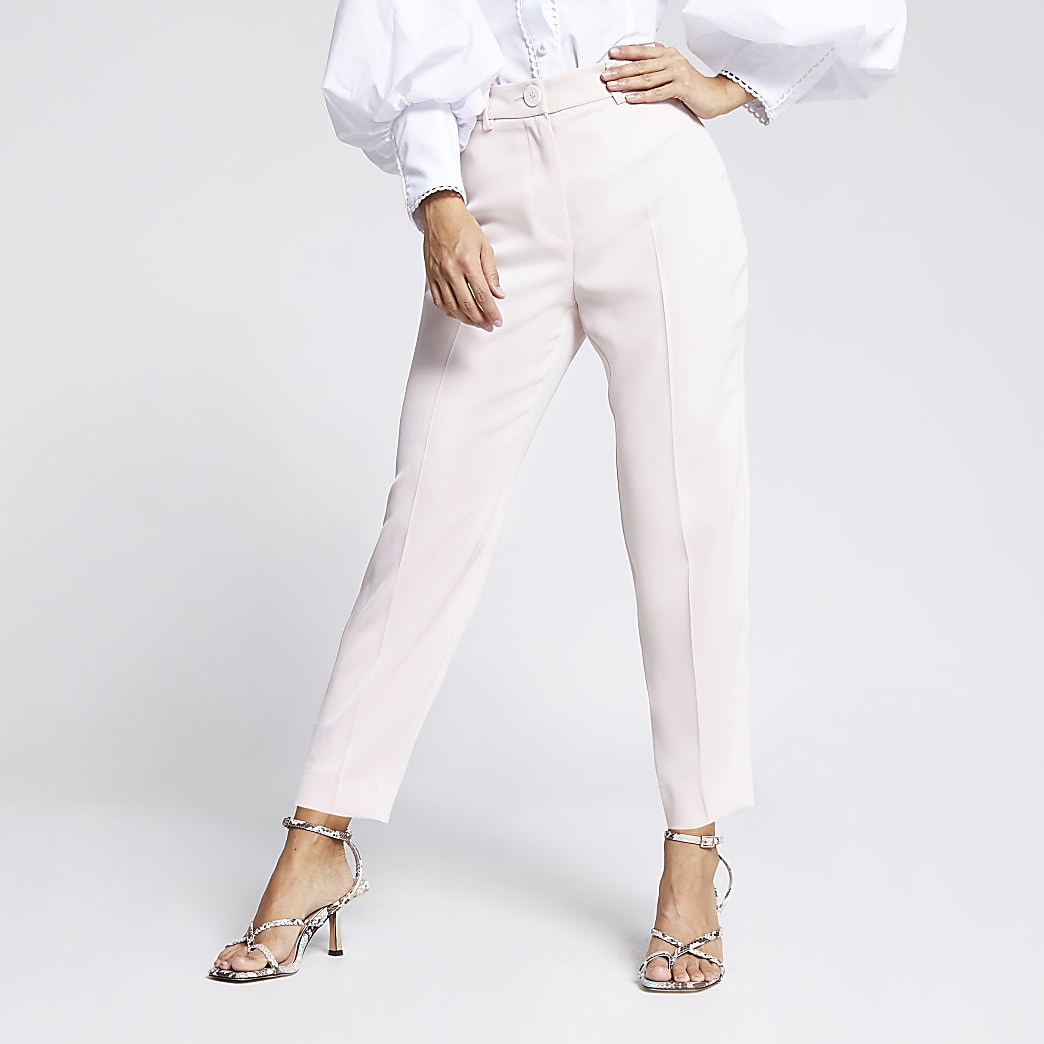 Petite light pink cigarette trousers