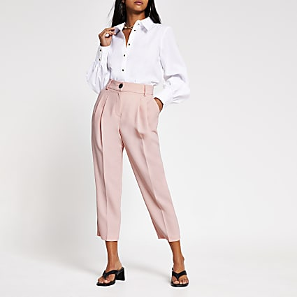 Petite Light pink pleated peg trousers