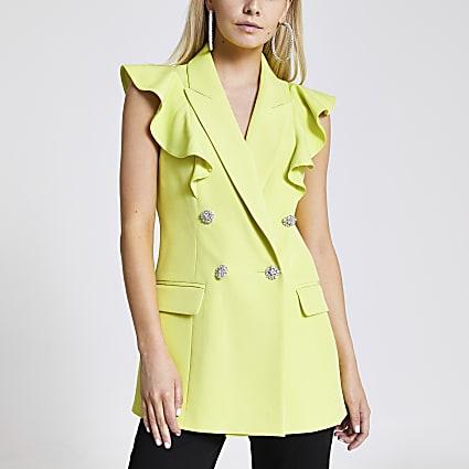 Petite lime sleeveless frill blazer