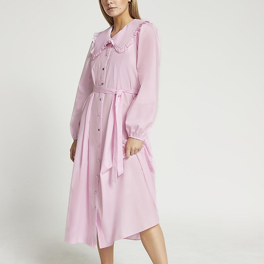Petite long puff sleeve collar midi dress