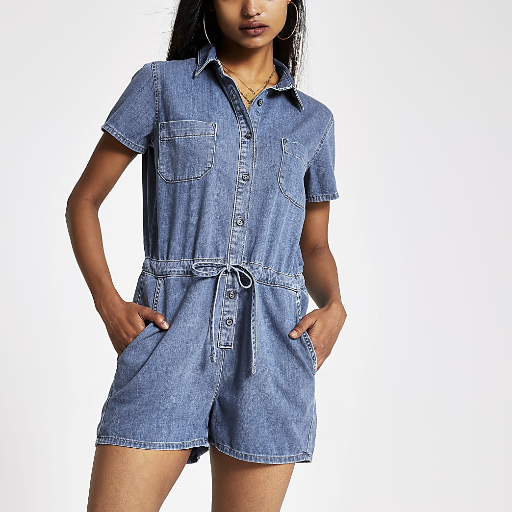 Petite mid blue denim playsuit