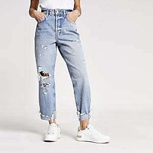 Petite – Hoch geschnittene Mom-Jeans in Mittelblau im Used-Look