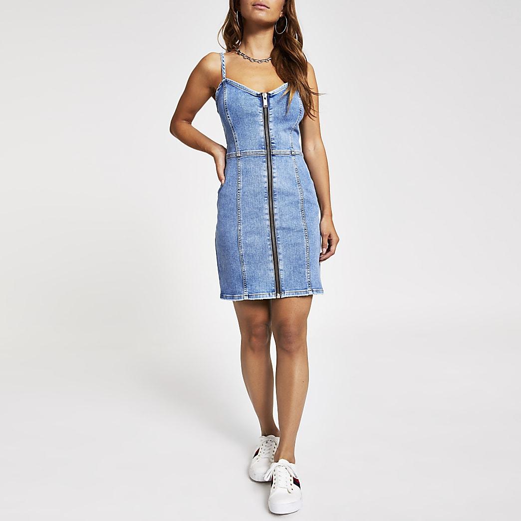 Petite mid blue zip front denim mini dress