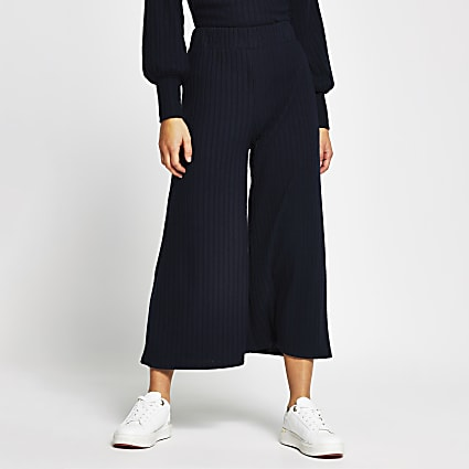 Petite navy wide leg ribbed trousers