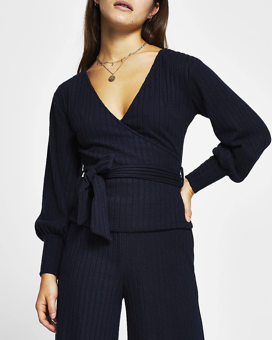 Petite navy wrap tie waist long sleeve top