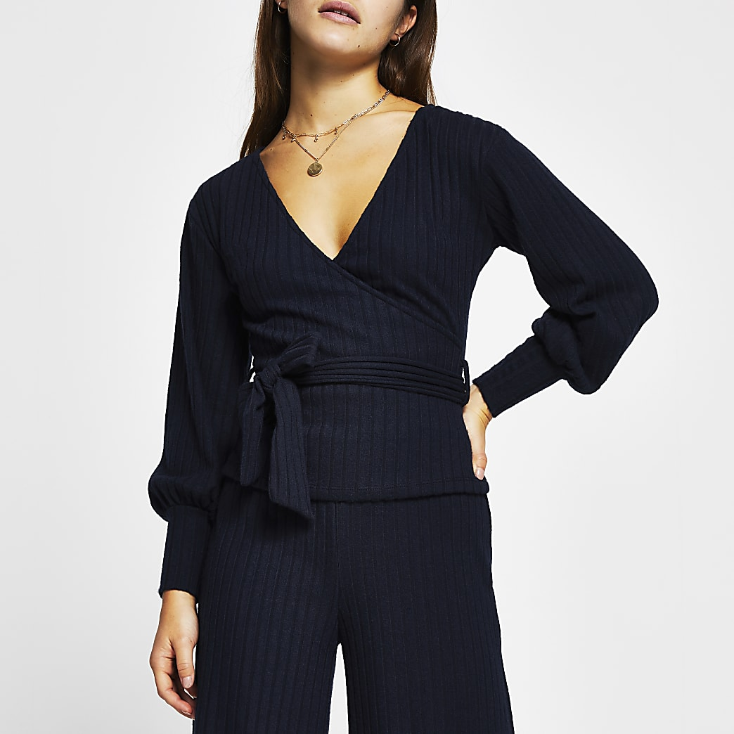 Petite navy wrap tie waist long sleeve top