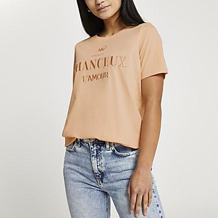 Petite orange 'Chanceux' boyfriend t-shirt