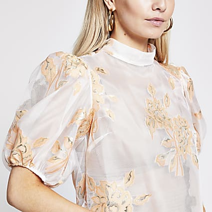Petite orange floral organza top