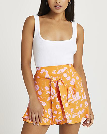 Petite orange floral tie front shorts