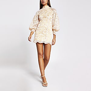 Petite orange lace backless cutout dress