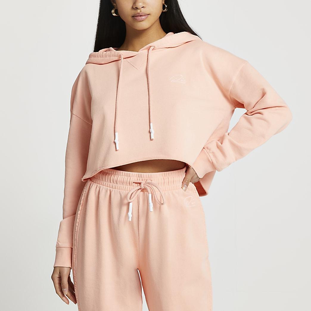 Petite orange RI long sleeve crop hoodie