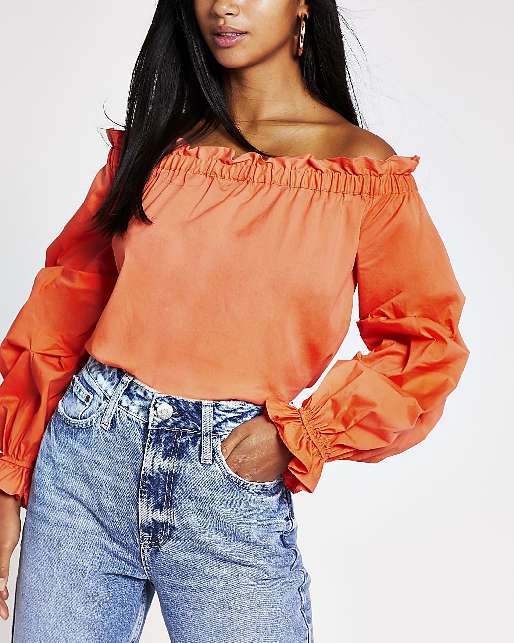 Petite orange ruched long sleeve bardot top