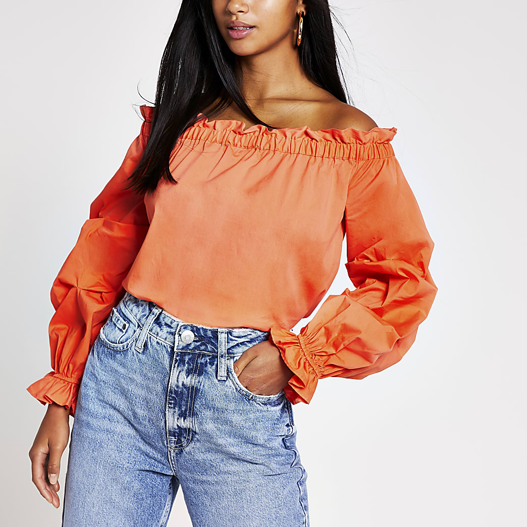 Petite orange ruched long sleeve bardot top