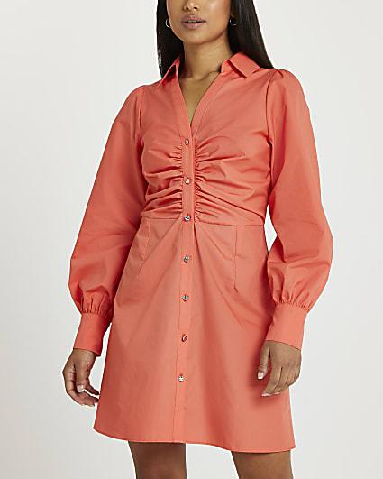 Petite orange ruched shirt dress