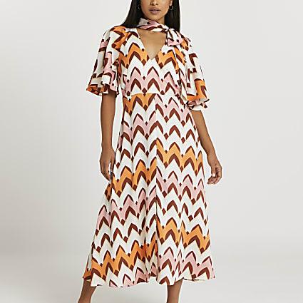 Petite orange stripe midi dress