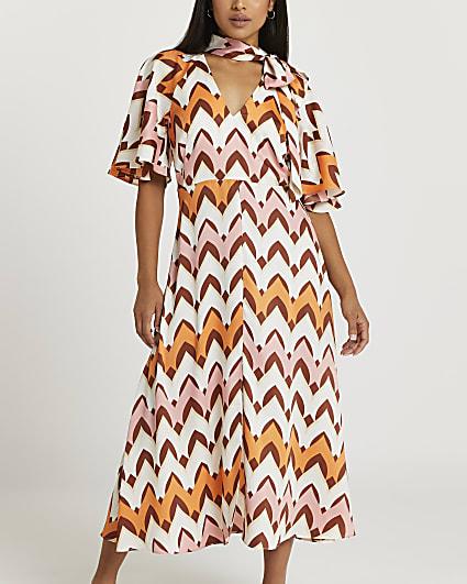 Petite orange stripe tie neck midi dress