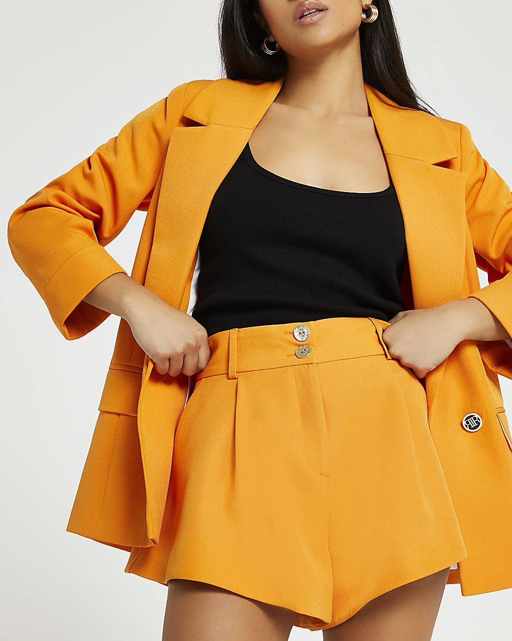 Petite orange structured shorts