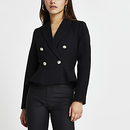 Petite peplum gold button blazer