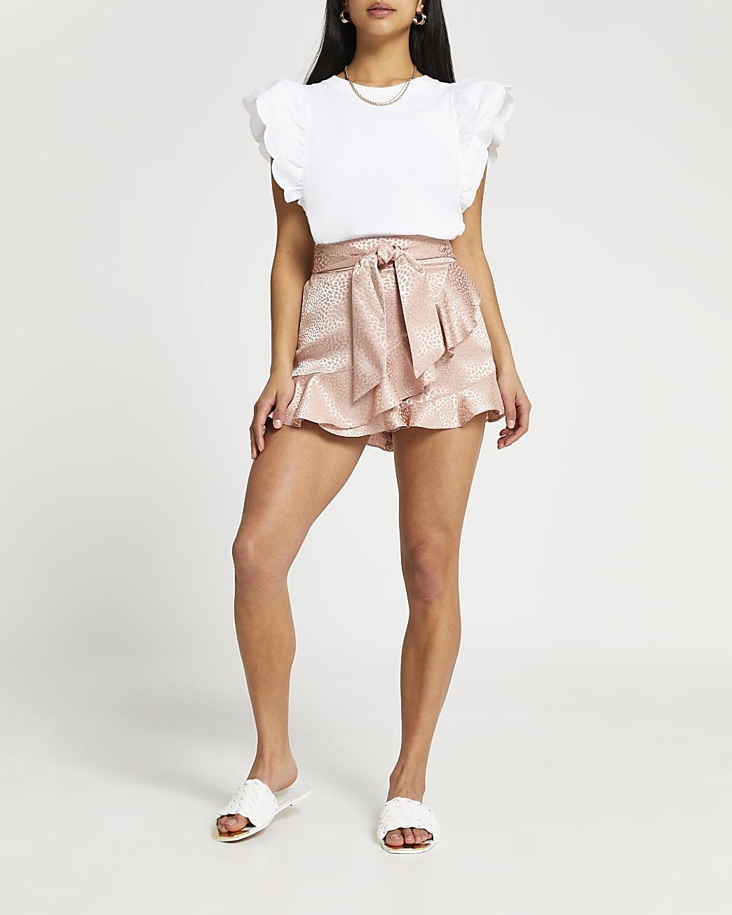 Petite pink animal print frill hem shorts