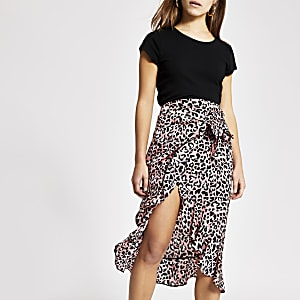 Petite pink animal print wrap midi skirt