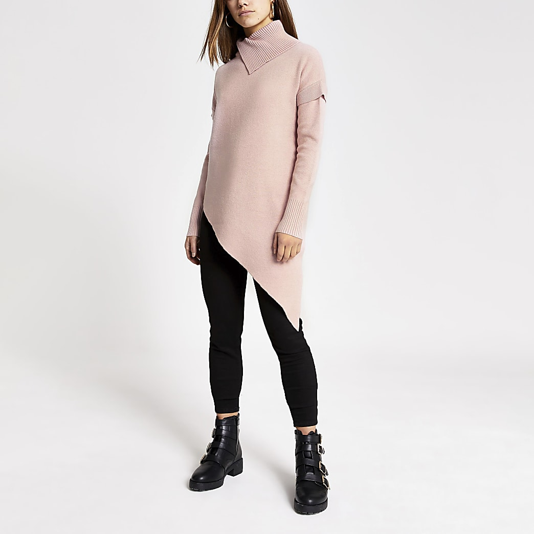 Petite – Pull rose asymétrique en maille