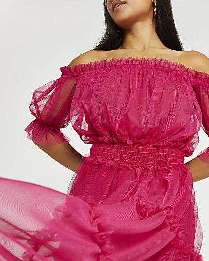 Petite pink bardot tiered midi dress