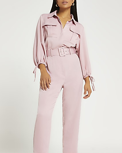 Petite pink belted jumpsuit