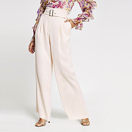 Petite pink belted wide leg trousers