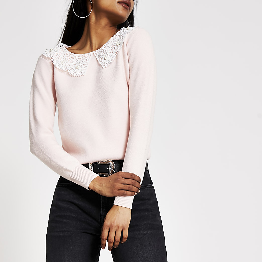 Petite pink broderie pearl collar knit jumper