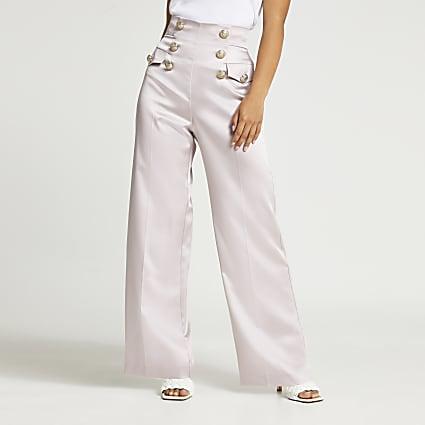Petite pink button detail wide leg trousers