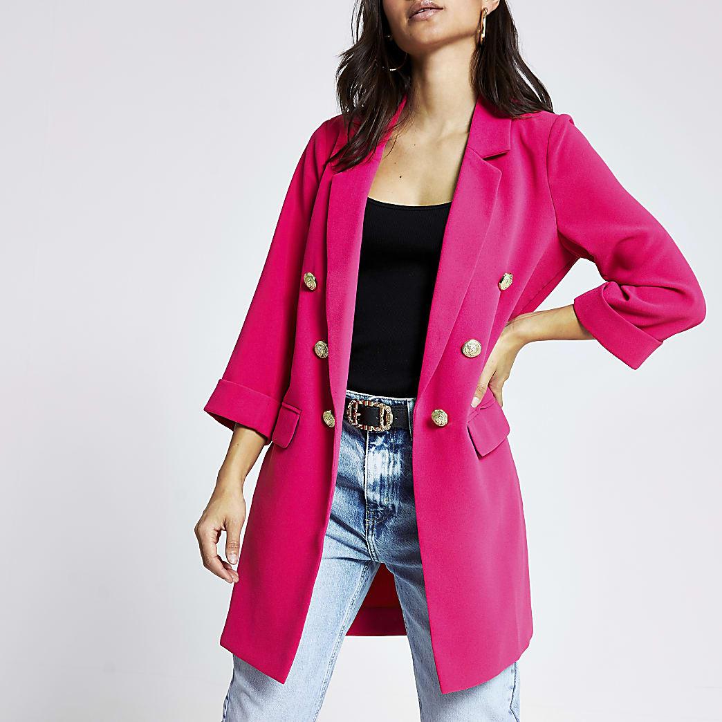 Petite pink button front longline jacket