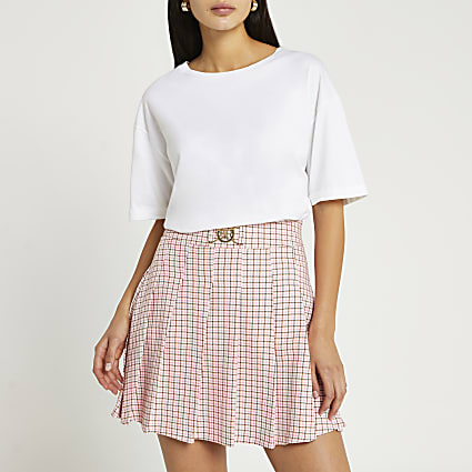 Petite pink check mini skirt