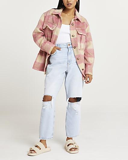 Petite pink check oversized shacket