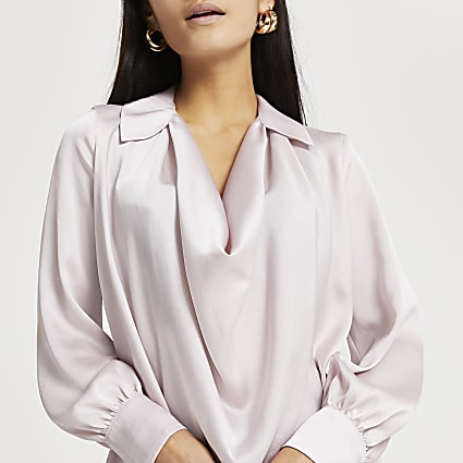 Petite pink cowl long sleeve blouse top