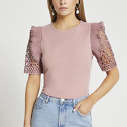 Petite pink crochet frill sleeve top